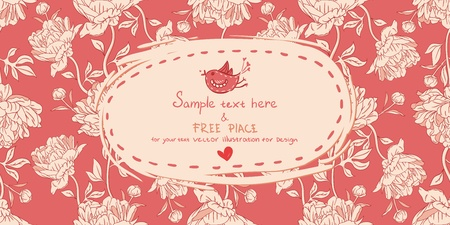 Invitation vintage card with peony flowers on red background Vector