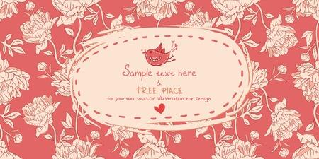 Tarjeta de invitación de la vendimia con flores de peonía sobre fondo rojo
