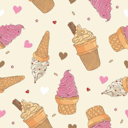 helado caricatura: Patrón de hielo de crema perfecta