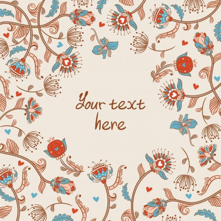 Vintage style background with flowers and heart Vector
