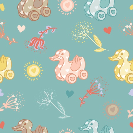 Duck toy seamles pattern Vector