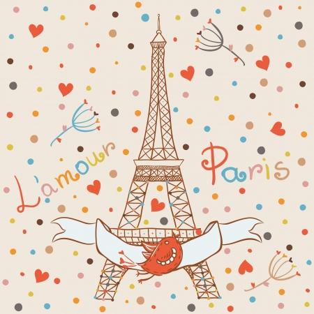 파리의 이미지와 카드 일러스트