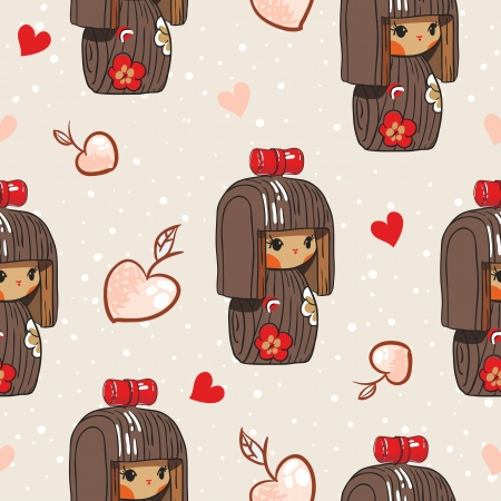 Japan doll seamless pattern