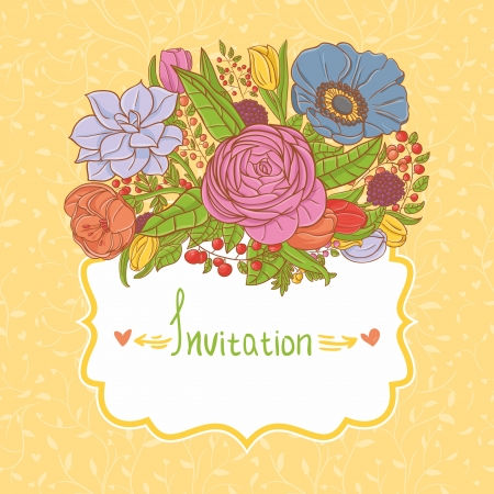 Card design with flowers Vector