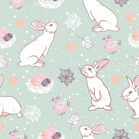 토끼 부활절 원활한 패턴 일러스트