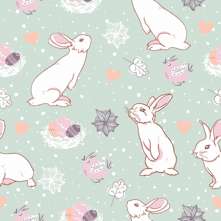 Rabbit easter seamless pattern