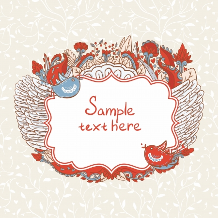 Vintage template with hearts and birds Vector