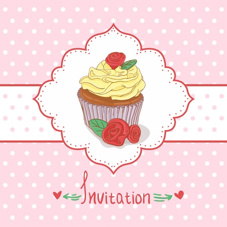 Cupcake invitation background Stock Vector - 13884158