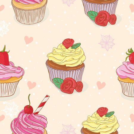 Cupcake seamless pattern Vector