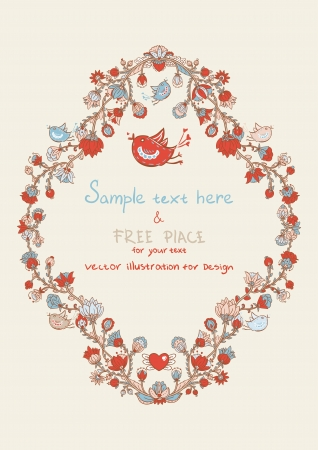 scrap booking: Vintage template with hearts and birds Illustration