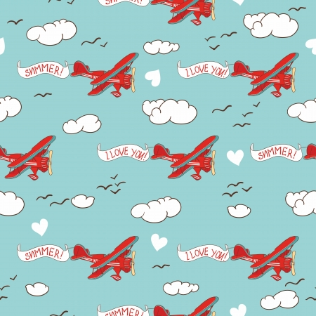 cloudy day: Airplane seamless pattern Illustration