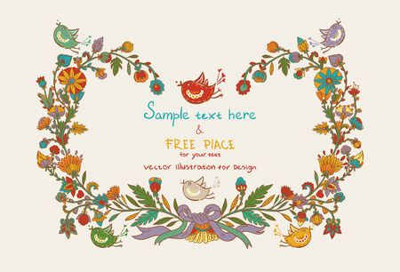 Flowers decor frame with leafs, birds and hearts Vector