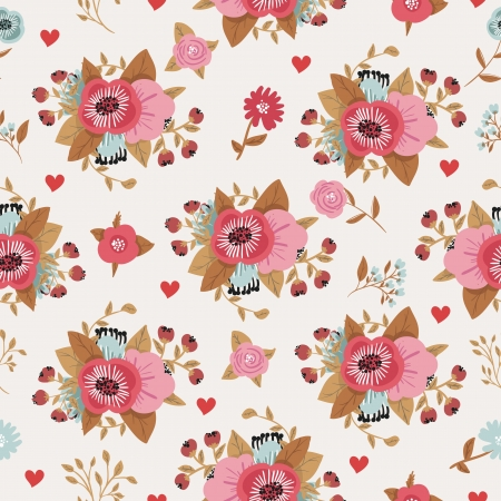 Seamless flowers decorative retro pattern Vector