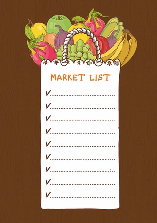 shoping bag: Shopping bags - list with fruits