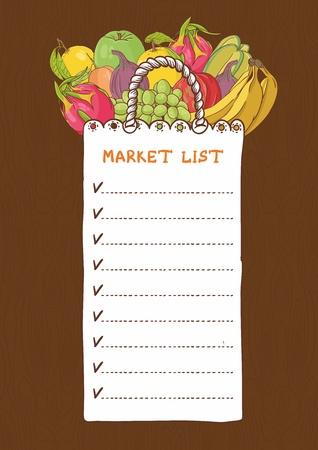 Sacs à provisions - Liste des fruits