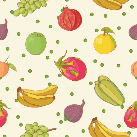 food market: Fruit seamless pattern