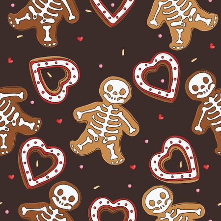 Gingerbread seamless pattern for halloween design Vector