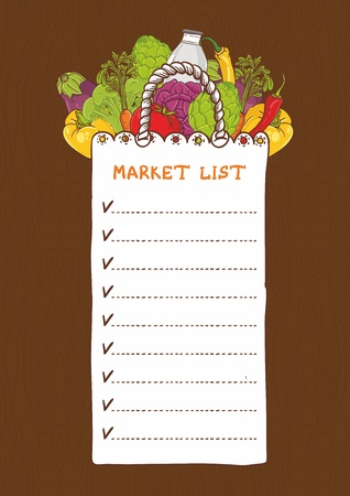 greengrocer: Shopping bags - list with vegetable Illustration
