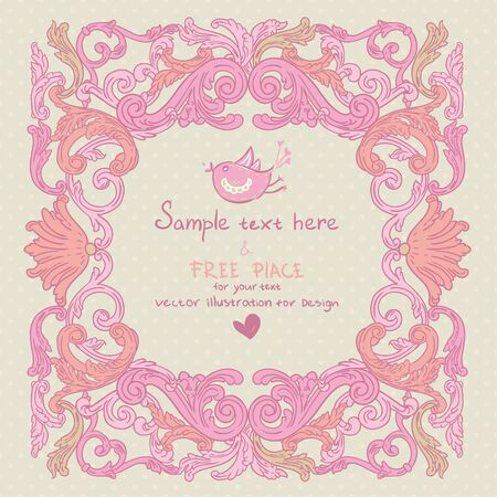 Vintage background baroque frame Vector