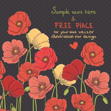 wildblumen: Weinlese-Mohn-Karte auf schwarzem Hintergrund