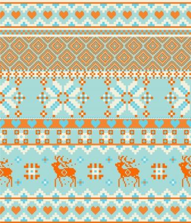 Knitting nordic Merry Christmas Scandinavian seamless pattern with deers Vector