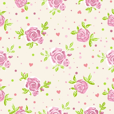 polka dots: Seamless roses wallpaper pattern