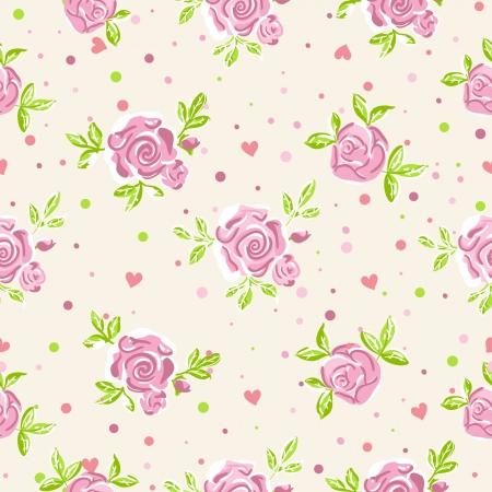 Sin fisuras rosas patrón de papel tapiz