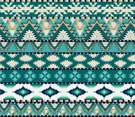 Aztecs seamless pattern on cold color Vector