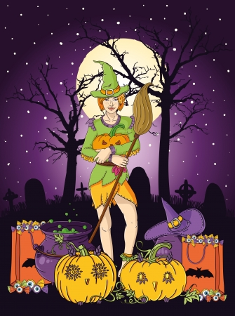 illustration of young witch with pumpkin at Halloween night Vector