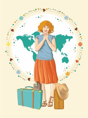 Young traveler girl Vector