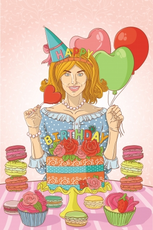 Young woman with cake Stock Vector - 14973845