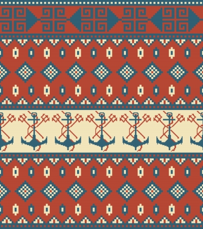 Seamless knitted pattern with anchor Vector