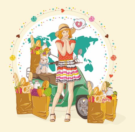Beautiful Women with scooter  and  shopping bags Stock Vector - 15151992