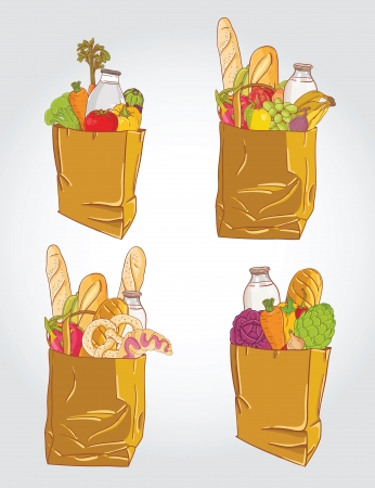 Paper bag with  food bread and fruits, vegetable vector illustration Illustration