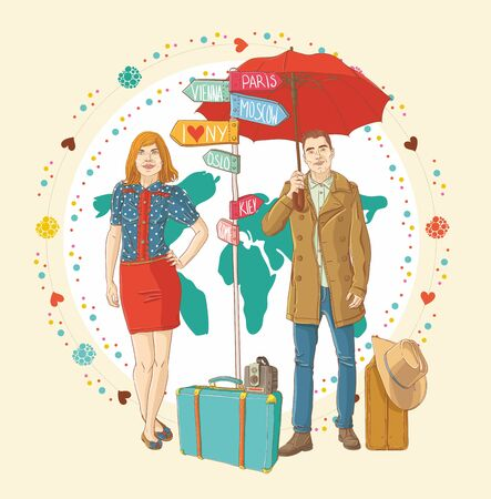 Young people in casual standing with travel bag, holding umbrella,and thinking about journey, on color map Stock Vector - 15305546