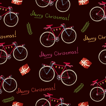decorated bike: Seamless pattern con la bici di Natale e confezione regalo Archivio Fotografico