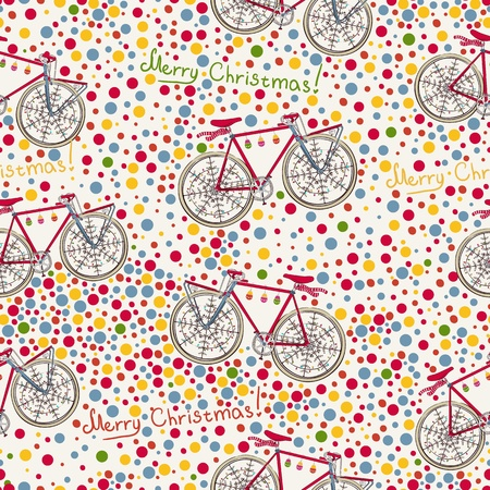 Seamless pattern with christmas bike and gift box Illustration