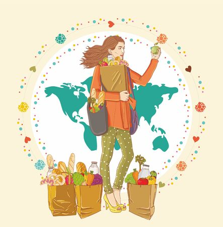 Young woman holding a shopping bag full of groceries Stock Vector - 15798281