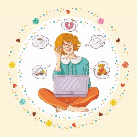 using laptop: Ragazza che si siede sul pavimento con laptop e pensare a prodotti caff� e altri