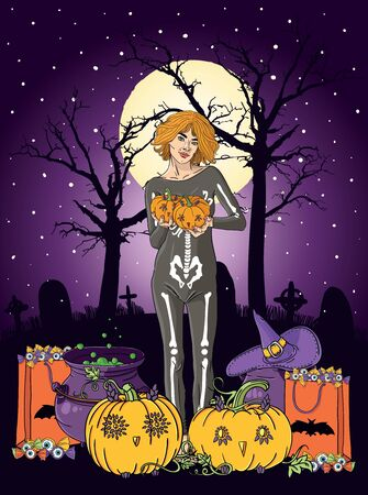 Illustration of young woman with pumpkin at Halloween night Stock Illustration - 15826571