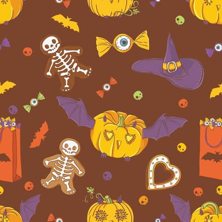 Halloween background with pumpkins, cookies, hat, bat and candy Vector