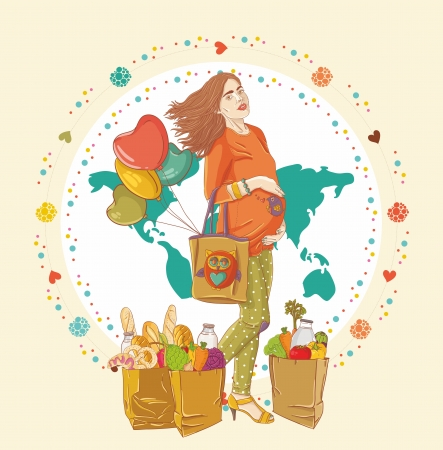 lady bird: Young pregnant woman, stay with shopping bag full of groceries and holding a  balloons Illustration