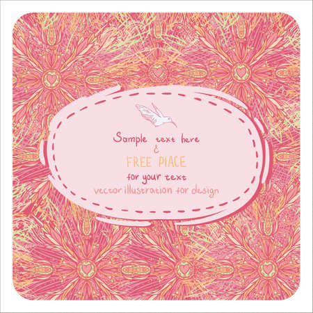 birth announcement: Invitation card on seamless background with colorful flowers Illustration