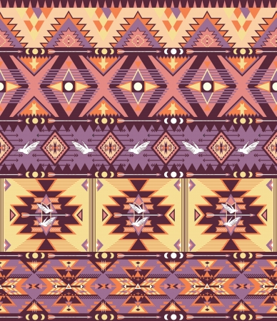 Seamless colorful aztec pattern with birds and arrow Vector