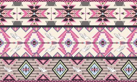 새와 화살표와 원활한 다채로운 아즈텍 패턴