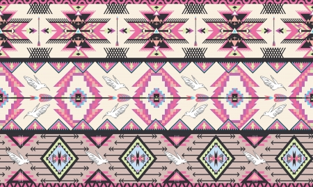 Seamless colorful aztec pattern with birds and arrow