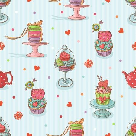 컵 케이크 원활한 패턴 일러스트