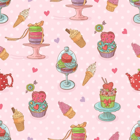 Sweet seamless pattern  with cupcakes and ice cream