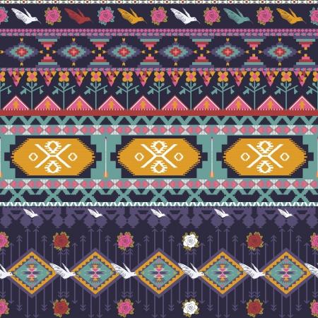 새, 꽃과 화살표와 원활한 다채로운 아즈텍 패턴 일러스트