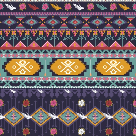 indigenous: Seamless colorful aztec pattern with birds, flowers and arrow